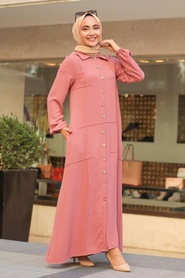 Neva Style - Cepli Gül Kurusu Tesettür Ferace Elbise 3340GK - Thumbnail