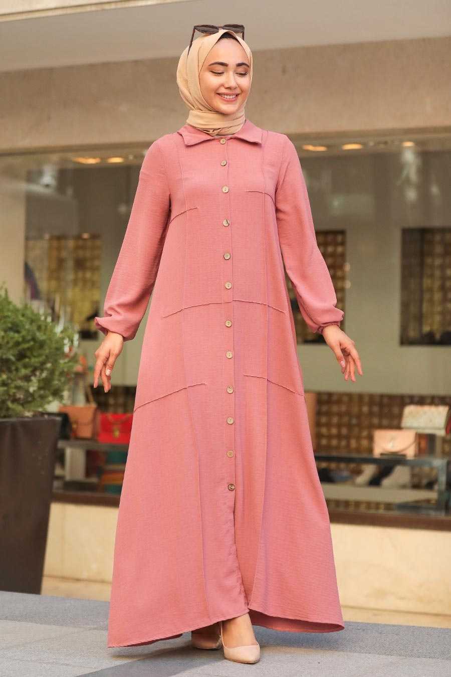 Neva Style - Cepli Gül Kurusu Tesettür Ferace Elbise 3340GK