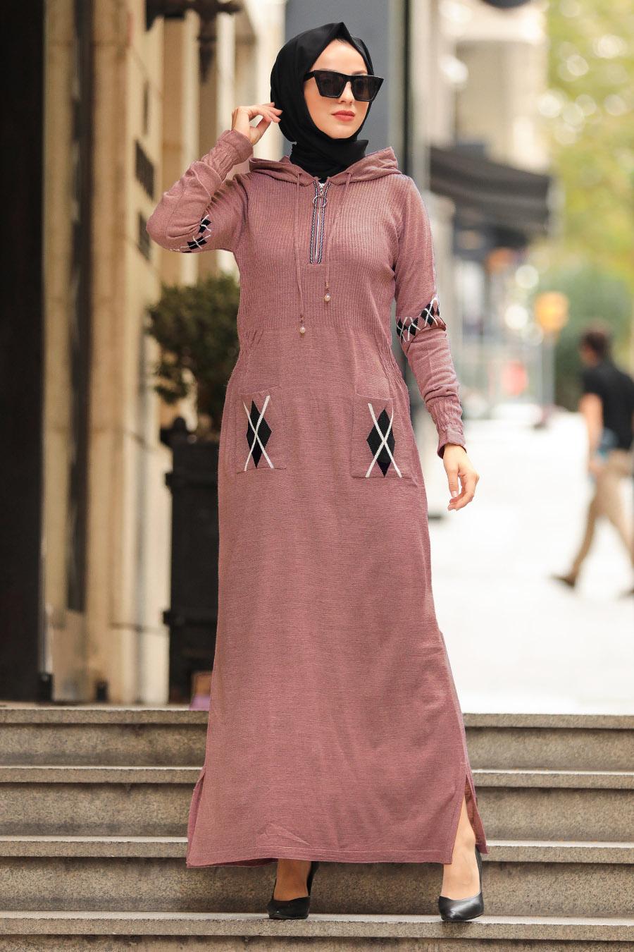 Neva Style - Cepli Gül Kurusu Tesettür Triko Elbise 2243GK