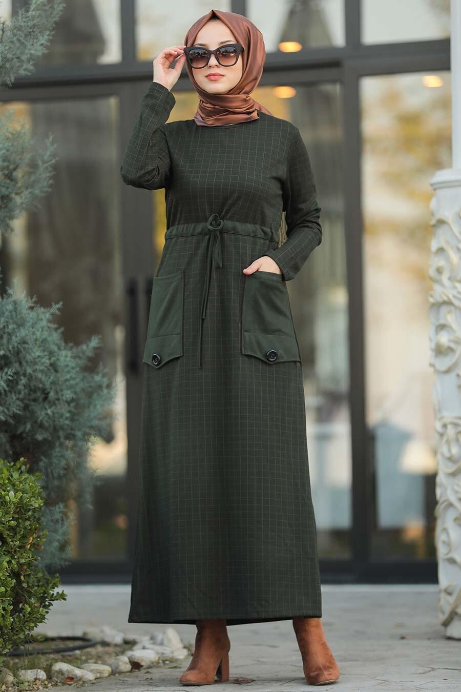 Neva Style - Cepli Haki Tesettür Elbise 80380HK