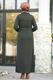 Neva Style - Cepli Haki Tesettür Elbise 80380HK - Thumbnail