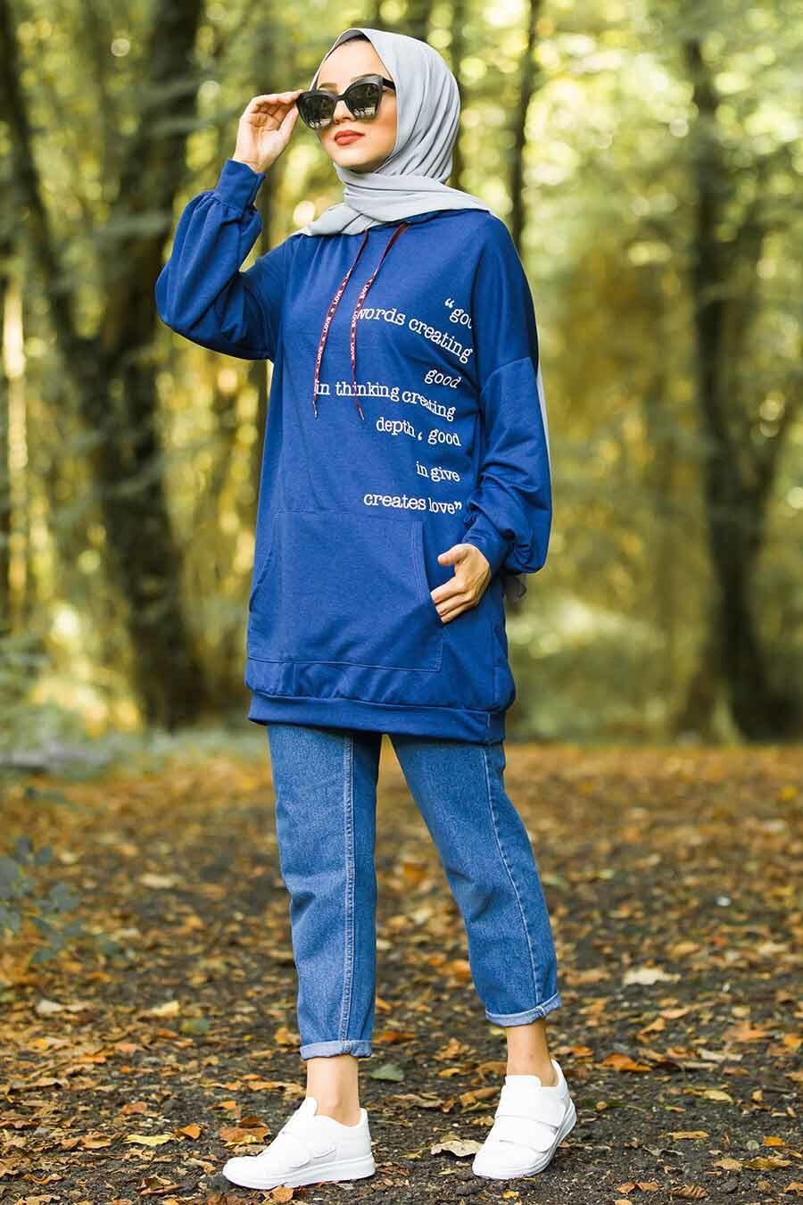 Neva Style - Cepli Kapşonlu İndigo Mavisi Tesettür Sweatshirt 1143IM