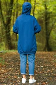 Neva Style - Cepli Kapşonlu İndigo Mavisi Tesettür Sweatshirt 1143IM - Thumbnail