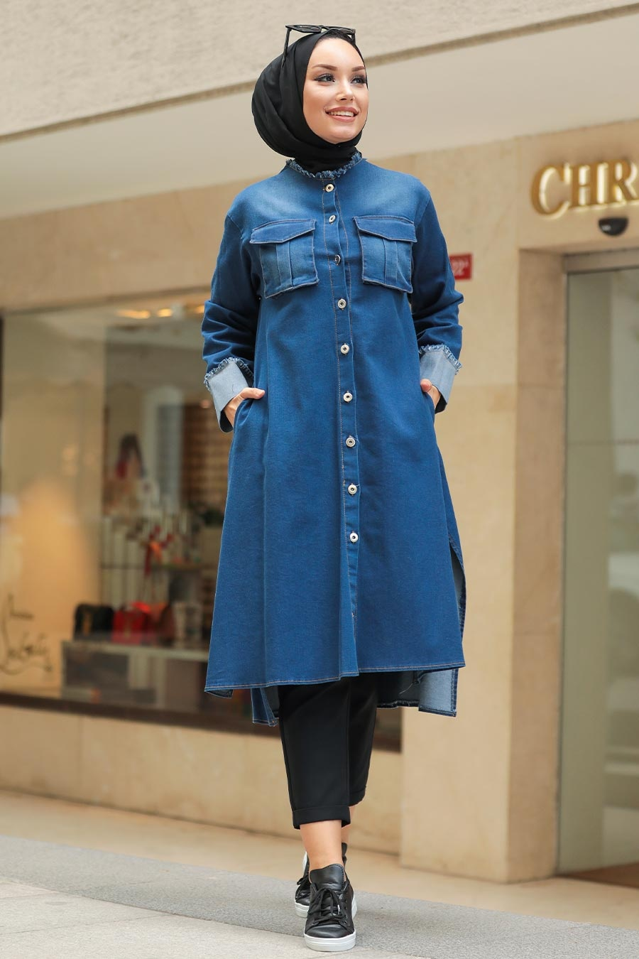 Neva Style - Cepli Lacivert Tesettür Kot Tunik 5985L