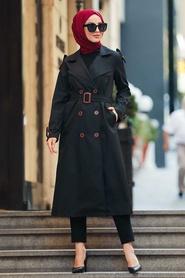 Neva Style - Cepli Siyah Tesettür Trençkot 50690S - Thumbnail