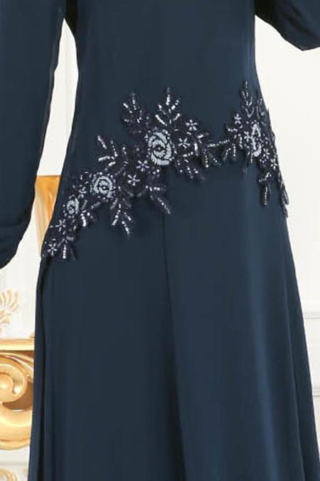 Neva Style - Çiçek Dantelli Lacivert Tesettür Abiye Elbise 25618L