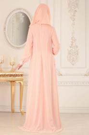 Neva Style - Çiçek Dantelli Somon Tesettür Abiye Elbise 25618SMN - Thumbnail