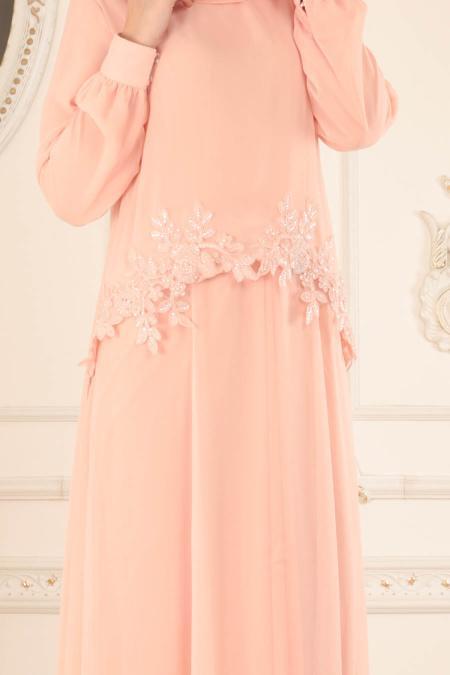 Neva Style - Çiçek Dantelli Somon Tesettür Abiye Elbise 25618SMN