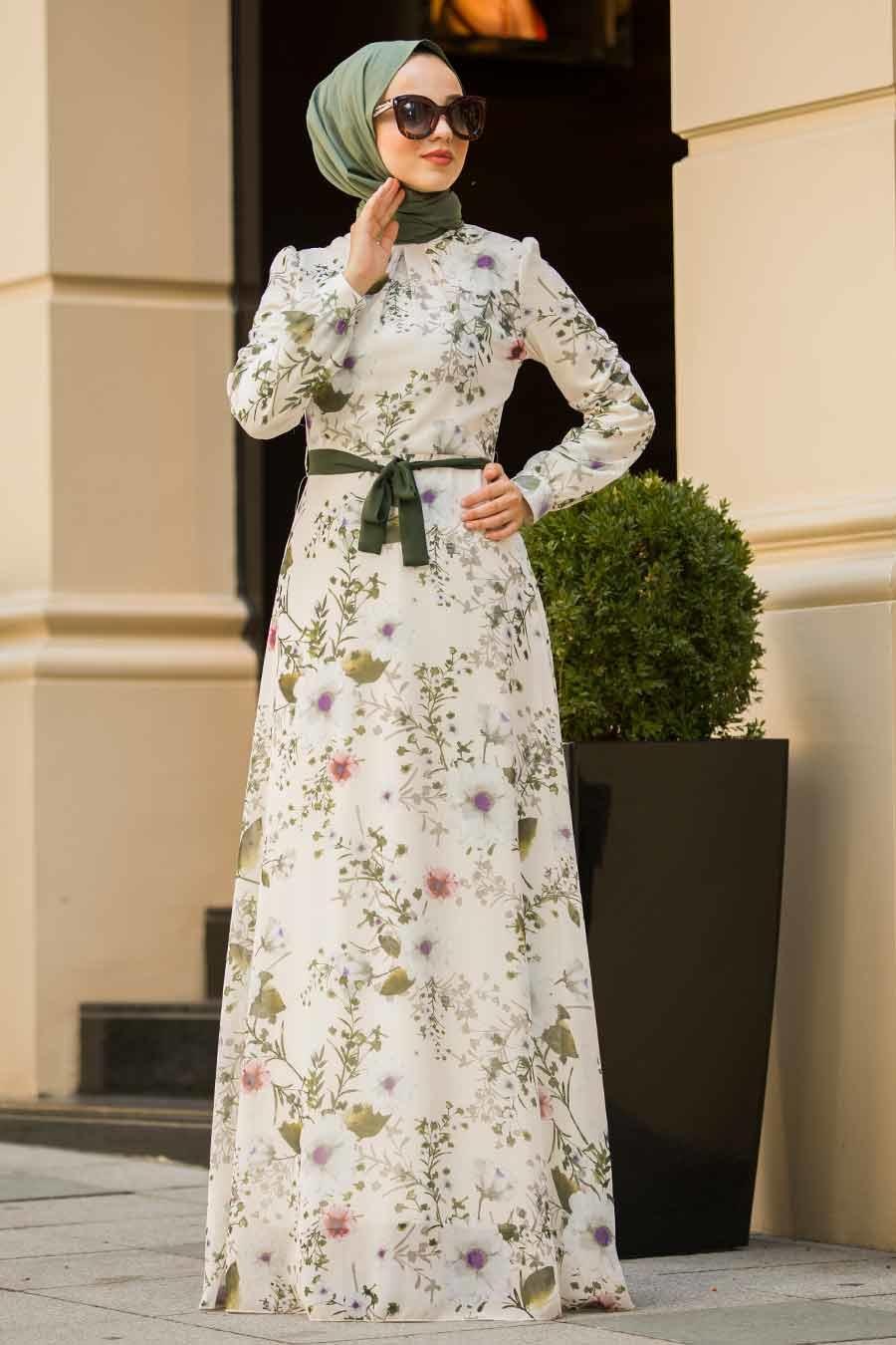 Neva Style - Çiçek Desenli Ekru Tesettür Elbise 815248E