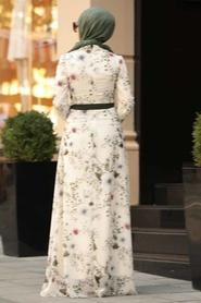 Neva Style - Çiçek Desenli Ekru Tesettür Elbise 815248E - Thumbnail