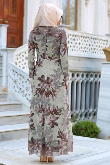 Neva Style - Çiçek Desenli Kahverengi Tesettür Elbise 52491KH