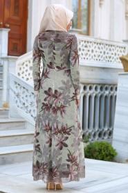 Neva Style - Çiçek Desenli Kahverengi Tesettür Elbise 52491KH - Thumbnail