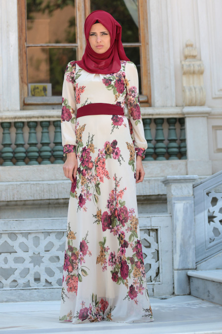 Neva Style - Çiçek Desenli Kemerli Bej Tesettür Elbise 76930BEJ