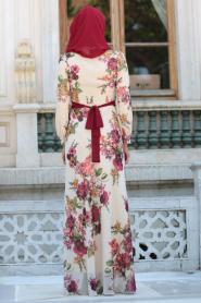 Neva Style - Çiçek Desenli Kemerli Bej Tesettür Elbise 76930BEJ - Thumbnail