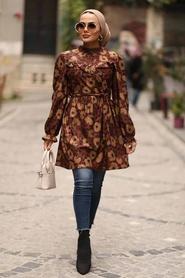 Neva Style - Çiçek Desenli Kiremit Tesettür Tunik 3579KRMT - Thumbnail
