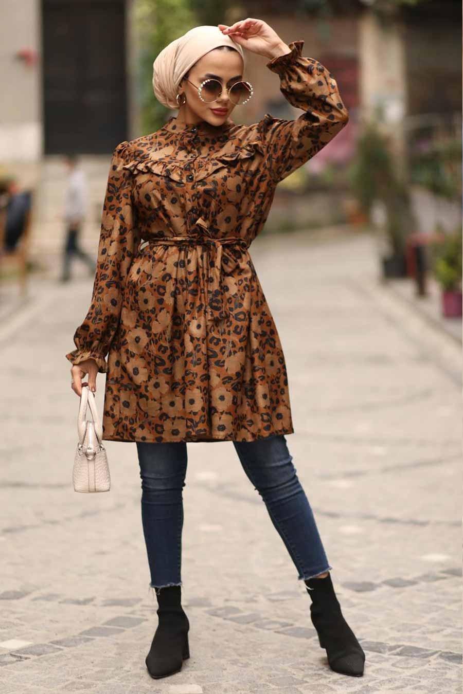 Neva Style - Çiçek Desenli Kiremit Tesettür Tunik 3579KRMT