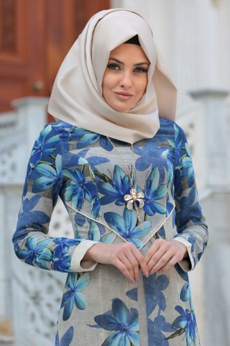 Neva Style - Çiçek Desenli Saks Mavisi Tesettür Elbise 52491SX
