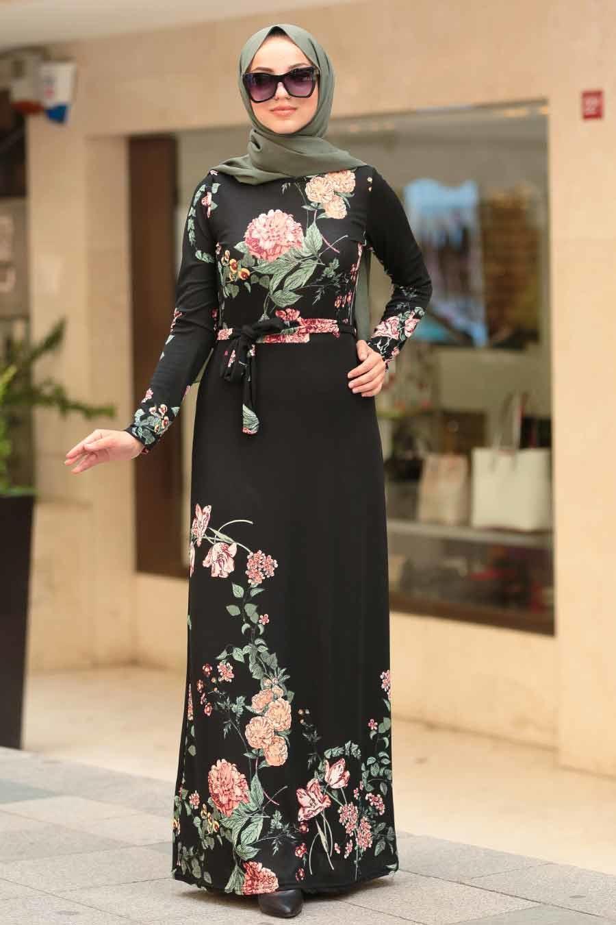 Neva Style - Çiçek Desenli Siyah Tesettür Elbise 10173S