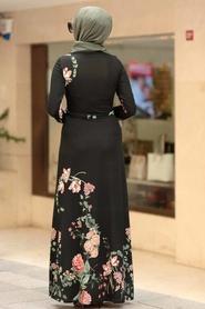 Neva Style - Çiçek Desenli Siyah Tesettür Elbise 10173S - Thumbnail