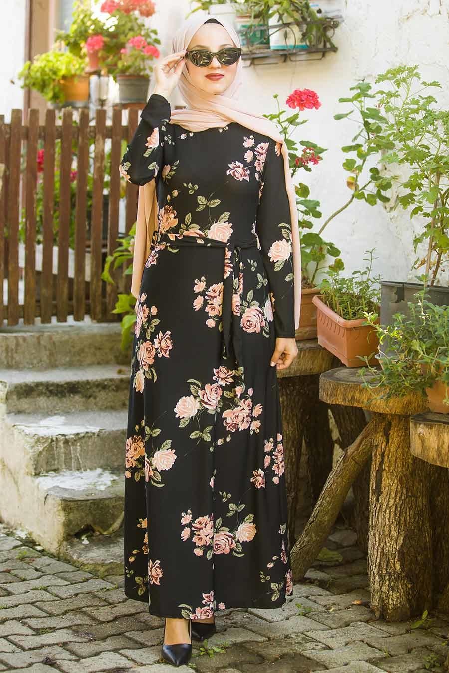 Neva Style - Çiçek Desenli Siyah Tesettür Elbise 10174S