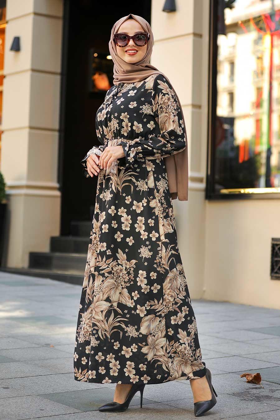 Neva Style - Çiçek Desenli Siyah Tesettür Elbise 1717S