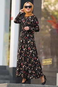 Neva Style - Çiçek Desenli Siyah Tesettür Elbise 43093S - Thumbnail