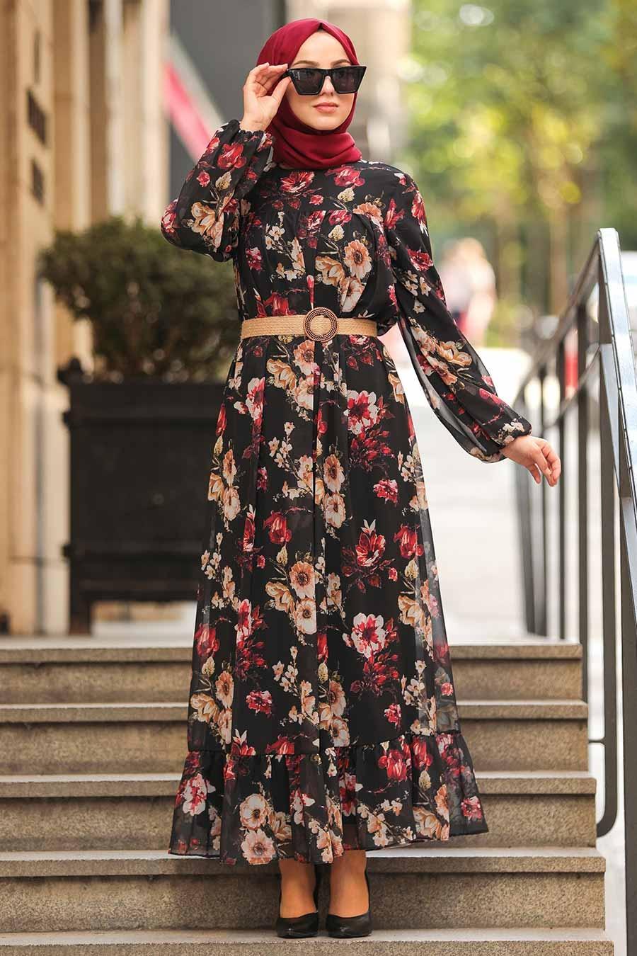 Neva Style - Çiçek Desenli Siyah Tesettür Elbise 51490S