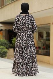 Neva Style - Çiçek Desenli Siyah Tesettür Elbise 5347S - Thumbnail