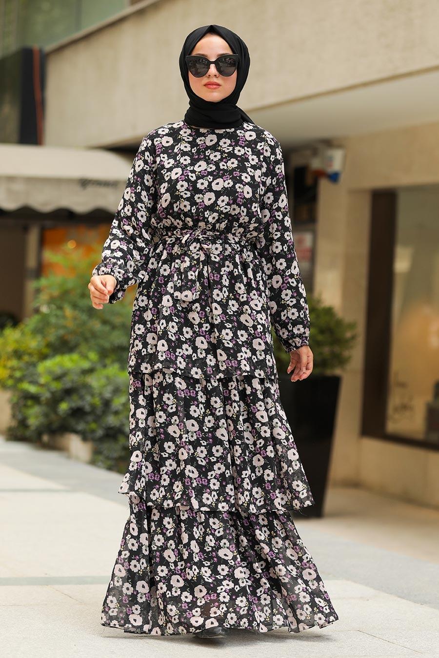 Neva Style - Çiçek Desenli Siyah Tesettür Elbise 5347S