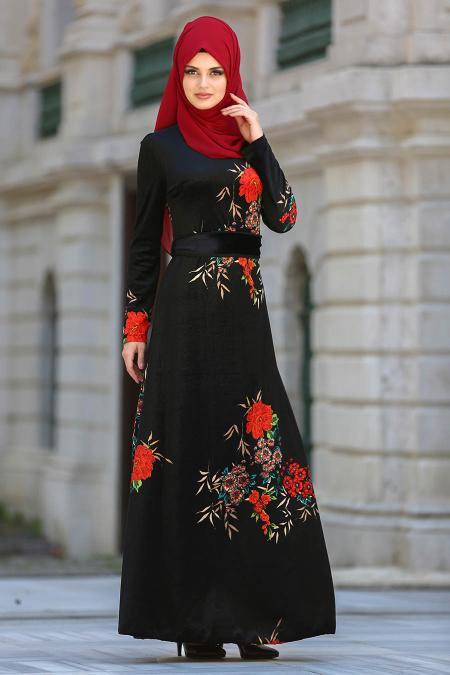 Neva Style - Çiçek Desenli Siyah Tesettür Kadife Elbise 7844S