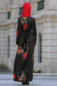 Neva Style - Çiçek Desenli Siyah Tesettür Kadife Elbise 7844S - Thumbnail