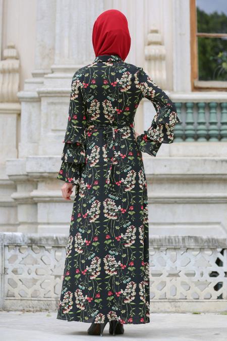 Neva Style - Çiçek Desenli Volan Kol Siyah Tesettür Elbise 100157S
