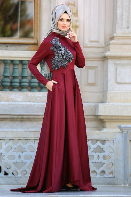 Neva Style - Çiçek Detaylı Bordo Tesettür Abiye Elbise 3577BR