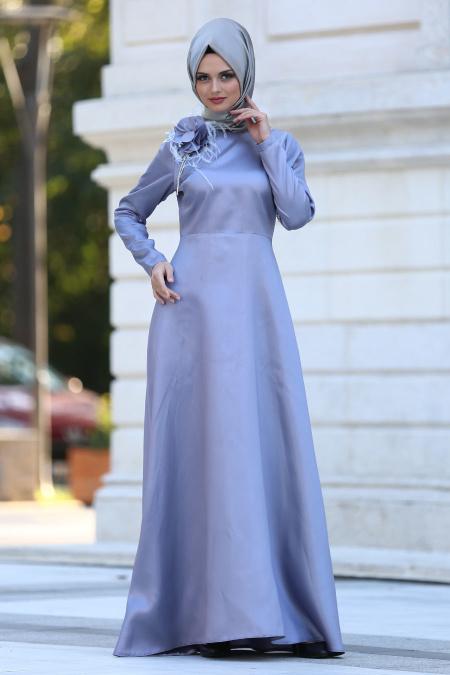 Neva Style - Çiçek Detaylı Lila Tesettür Abiye Elbise 3557LILA