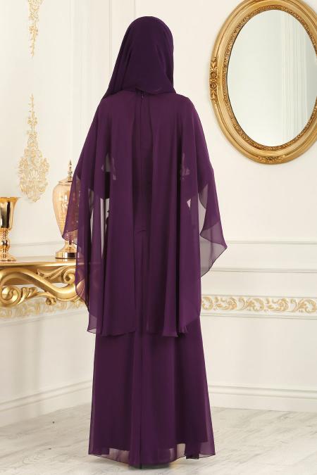 Neva Style - Çiçek Detaylı Mor Tesettür Abiye Elbise 25661MOR