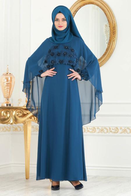 Neva Style - Çiçek Detaylı Petrol Mavisi Tesettür Abiye Elbise 25661PM