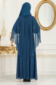 Neva Style - Çiçek Detaylı Petrol Mavisi Tesettür Abiye Elbise 25661PM - Thumbnail