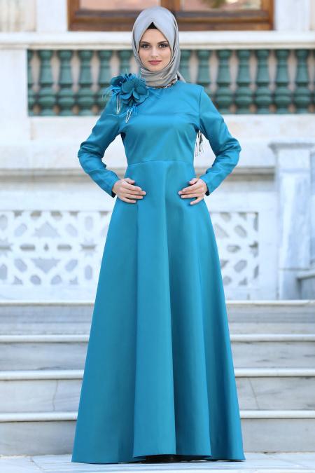 Neva Style - Çiçek Detaylı Petrol Mavisi Tesettür Abiye Elbise 3557PM