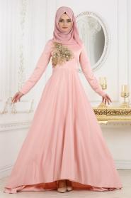 Neva Style - Çiçek Detaylı Pudra Tesettür Abiye Elbise 3577PD - Thumbnail