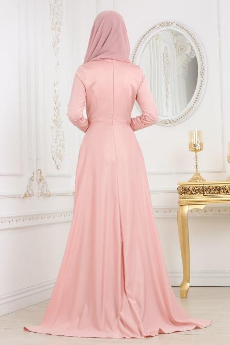 Neva Style - Çiçek Detaylı Pudra Tesettür Abiye Elbise 3577PD