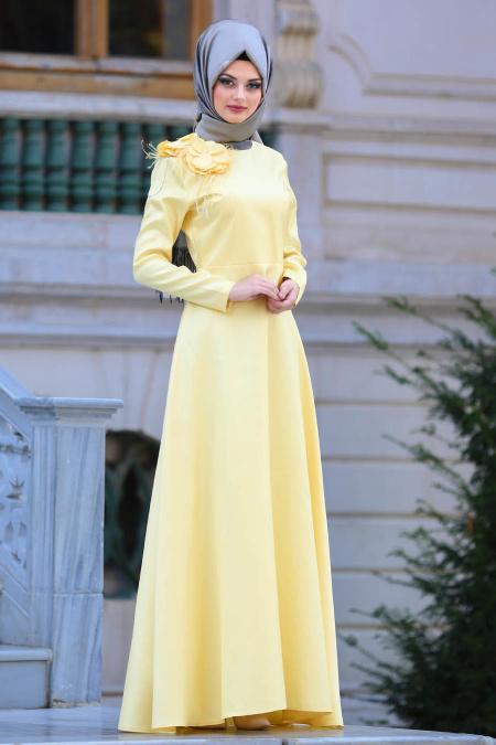 Neva Style - Çiçek Detaylı Sarı Tesettür Abiye Elbise 3557SR