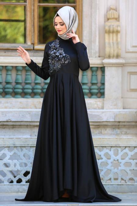 Neva Style - Çiçek Detaylı Siyah Tesettür Abiye Elbise 3577S