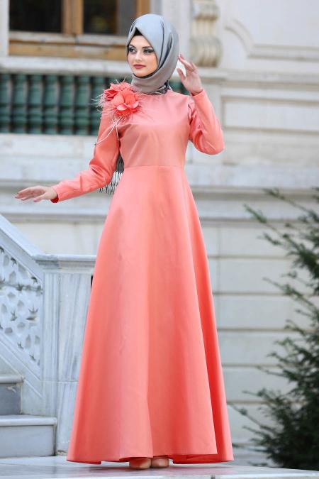 Neva Style - Çiçek Detaylı Turuncu Tesettür Abiye Elbise 3557T