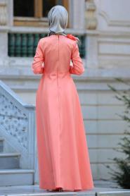 Neva Style - Çiçek Detaylı Turuncu Tesettür Abiye Elbise 3557T - Thumbnail