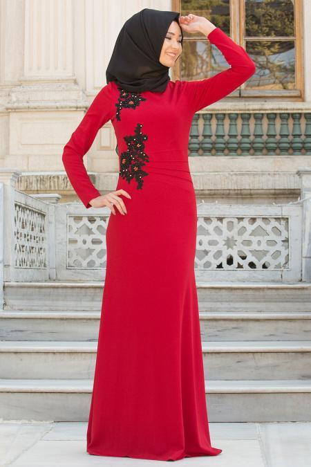 Neva Style - Çiçek İşlemeli Kırmızı Tesettür Abiye Elbise 10056K