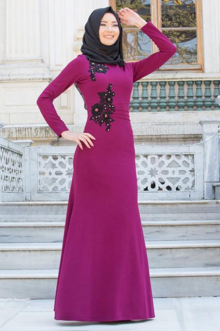 Neva Style - Çiçek İşlemeli Mürdüm Tesettür Abiye Elbise 10056MU
