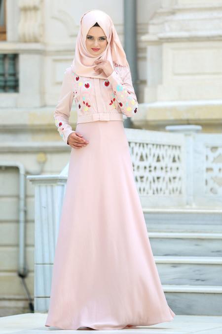 Neva Style - Çiçek İşlemeli Pudra Tesettür Elbise 7749PD