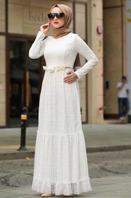 Neva Style - Çiçek Kemerli Beyaz Tesettür Elbise 1390B - Thumbnail