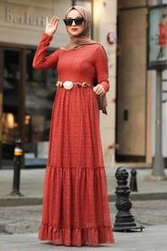 Neva Style - Çiçek Kemerli Kiremit Tesettür Elbise 1390KRMT - Thumbnail