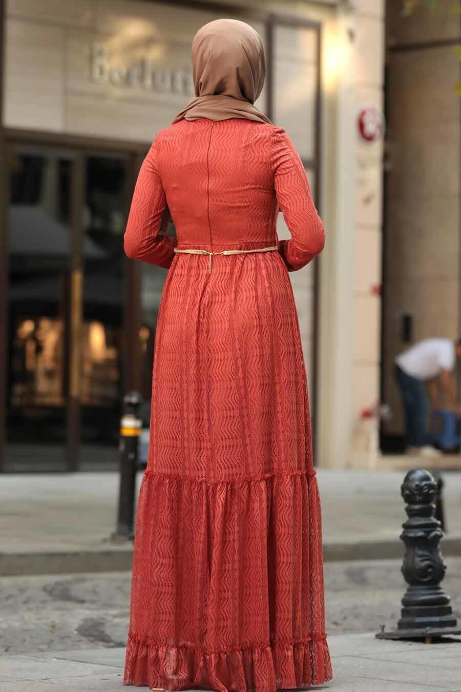 Neva Style - Çiçek Kemerli Kiremit Tesettür Elbise 1390KRMT